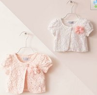 air cape - Baby girl summer hollow out top female child lace flower small cape waistcoat small coat air conditioning top