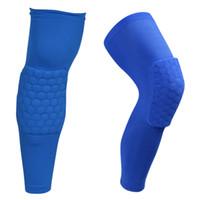 Wholesale 2016 Long Honeycomb Crashproof Antislip Basketball Leg Knee Long Sleeve Protector Gear Honeycomb Pad hight quality