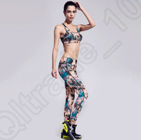 Wholesale 3 Colors Sexy Women Fitness Running Clothes Printed Yoga Outfit Vest bra Pants Set Tight Sports Suits New SET LJJJ125