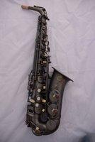Wholesale DHL Selmer Flat black saxofn E Alto instrumentos musicales Saxe Perla Negro tallado Proceso Sax