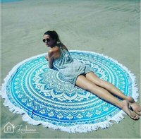 Wholesale 2016 New Wave Bohemian Style Round Beach Towel i With Tassel Print Beach Towel Yoga Mat Shawl Picnic Tablecloth B