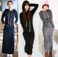 Wholesale 2015 Fall winter New Korean Black Gray Sweater Dress Plus size Women s Sport Casual dresses Fleeced Hoodies Long Sleeved Slim Maxi Dresses