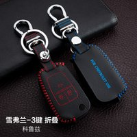 auto cruze chevrolet - For Chevrlet Cruze Hand Sewing Genuine leather Remote Control Car Key chain Car key cover Buttons Folding Auto Accessories