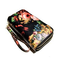american oil painting - 2 Zipper Flower lady long wallets Oil painting wallet double zipper long style fashion women wallets leather female floral