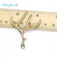 antler crafts - 10pcs Antique Bronze Plated Antlers Charms Pendants for Necklace Jewelry Making DIY Handmade Craft x39mm