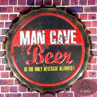 beer bottle art - Round Tin signs quot Man Cave Beer quot Bottle Cap Bar Sign Bar House Restaurant Bar iron Paintings Art Poster CM RM