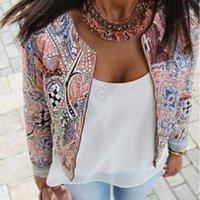 Wholesale 2016 New European and American style retro print round neck sport jackets women summer coat Plus Size S M L XL