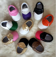 Wholesale New Baby Girls First Walker Shoes moccs Baby moccasins soft sole moccasin newborn color matching shoes Tassels maccasions shoes