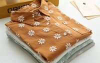art institute - 2016 spring floral cotton shirt female Han van Institute wind fresh art all match students simple shirt