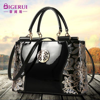 Wholesale Shoulder Bags Realer Brand Fashion Patent Leather Women Bag floral print shoudler bags Elegant Luxury Ladies handbag Black Tote Bag