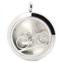 bicycle chain oil - 30mm bicycle Aromatherapy Essential Oil surgical Stainless Steel Perfume Diffuser Locket Necklace with chain and pads