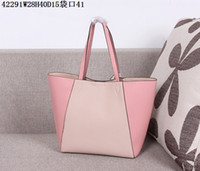 bag phone value - Two tone Leather totes Women shopping casual leather totes Inverted trapezoidal handbags W28H40D15cm AAA quality super value bags