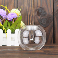 Wholesale Glass Candle Holder White Black Glass Ball Tealight Candle Holder Home Decoration Wedding Décor Glass Candlestick European Round Transparent