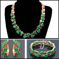 Wholesale Beautiful new design luxury green zircon Mona Lisa jewelry sets Mona Lisa necklace earring bracelet set for party gift wedding