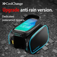 Wholesale CoolChange Bicycle Frame Front Head Top Tube Waterproof Bike Bag Double IPouch Cycling For in Cell Phone Bike Accessories