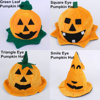 Wholesale Halloween Costumes Pumpkin Hat Cosplay Yellow Masquerade Game Party Dancer Stage Performing Costume Props Festival Gift