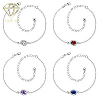 Cheap King Baby Jewelry New Arrival Fashion Blue Purple Red White Austrian Crystal Charm Anklets Silver Plated Foot Chain Bracelets