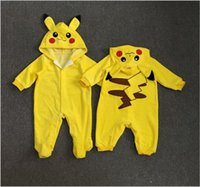 b boy clothing - Baby poke go Pikachu rompers new children cartoon boy girl Pure cotton Long sleeve Hooded rompers baby clothes B