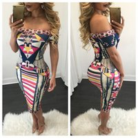 apparel design womens - 2016 womens off shoulder print dresses bodycon sexy tight fit slash neck dress fashion design american apparel summer hot clothing