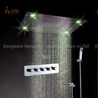bath tap sets - Shower faucet mm bathroom concealed rainfall square Recessed Ceiling Mounted LED shower set faucet bath tap mixer