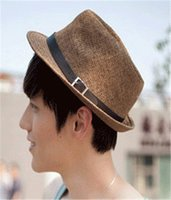 Wholesale Straw Hat Women Mens Summer Fedora Trilby Panama Straw Hat Beach Sunhat Gangster Jazz Cap Mens Straw Hat Mens Straw Cowboy Hat Scarecrow Hat