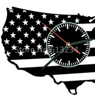 american silhouette - Pieces Handmade United States Silhouette Map Wall Clock Creative Laser Engraved Clock for American Patriots
