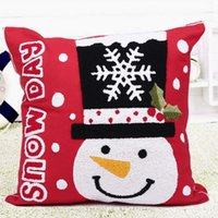Wholesale Fashion Cute Christmas Snowman Style Cotton Pillow Cover Pillowcase for Home Decorations
