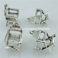 alloy chairs - 14049 Vintage Silver Tone Alloy Chair Furniture Pendant Charms