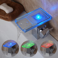 battery deck lights - no need battery LED waterfall faucet with light cold and hot water color change glass basin faucet