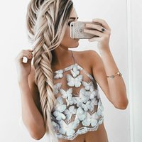 Wholesale Women Clothing Sexy Beachwear Hollow Tank Crochet Bra Halter Vest Strap White Crop Top HML619