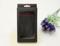 apple box size - 1000PCS Larger Size Leather Case Black Retail Package boxes for Iphone case Plastic holder paper box empty package boxes for iphone