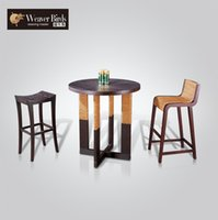 Wholesale Weaver rattan furniture wicker chair leisure home bar tables stool chairs combination