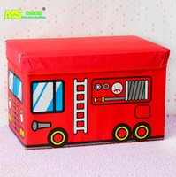 Wholesale Fire truck car toys cartoon leather stool storage box folding storage stool factory direct