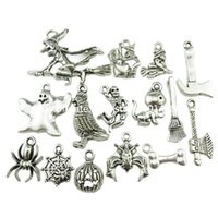 bats bones - 30PCS Halloween Silver Bone Skull Axe Bat Spider Pumpkin Cat Witch Ghost Pendant