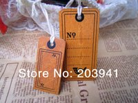 Wholesale New vintage wooden Luggage tag With rope per set travel tag label Gift wood bookmark