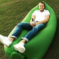 Wholesale 100pcs cm Fast Inflatable Camping Sofa banana Sleeping Bag Hangout Nylon lazy lay laybag Air Bed chair Couch Lounger Saco de dormir