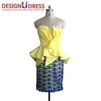 arabic design photos - Design U Dress Own Design Arabic Yellow with Blue Beading Sleeveless Sweetheart Neck Cocktail Dresses Gown For Girls
