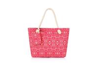 acrylic bag handles - Women Tote Bag Canvas Bag Rope Handle Shoulder Bag Stripes beach shopping bag