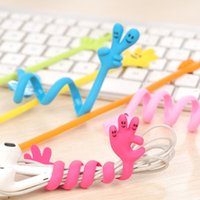 Wholesale New Lovely Finger Bending Strip Earphone Cable Wire Cord Organizer Holder Winder For iphone samsung Headphone Wire Storage