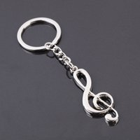 Wholesale key ring key chain silver plated musical note keychain for car metal music symbol key chains