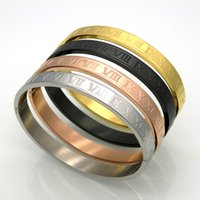 Wholesale hand jewelry stainless steel k gold plated black roman numerals women diamond bangle bracelet pieces
