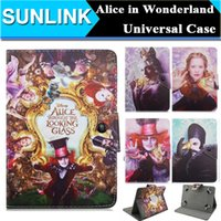 alice in wonderland characters - Universal Alice in Wonderland Customized Mad Hatter PU Leather Folio Stand Wallet Case Cove for inch Tablets PC Q88 with Hooks