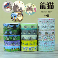Wholesale 2016 New Totoro cat series paper tape DIY tape Sticky Cute Cartoon Printed tools office chool supplies Z005