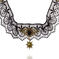 america offers - America special offer retro Korean pop Gothic false collar Lace Necklace Pendant sun stone