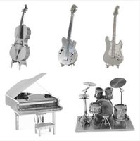 bass guitars kits - 2016 New Musical Instrument Bass Guitar Violoncello Piano Drum kit D Metal Puzzles Toy Present Gift for children