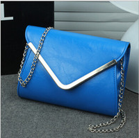 Wholesale Drop Shipping Lady Chain Envelop Clutch Bags Party Bag Handbag Evening Bag PU Leather Colors Good Quality