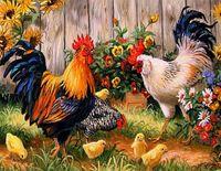 antique hen - Latest D DIY Diamond Painting Family Of Chicken Cock Hen Cross Stitch Mosaic Home Decoration best gift x35cm HWB