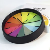 Wholesale DHL SF_ EXPRESS Rainbow Colorful Wall Clock brief style hanging mute clock living Without batteries