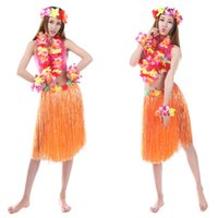Wholesale Anself New Handmade Hawaiian Costumes quot Dance Kit Hawaii Hula hula Hula Skirt Set Men Grass Skirts H17059