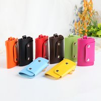 Wholesale 2016 Mini Key Wallet Purse Cheap Candy Colors Women Men s Pu Leather Wallets Pocket Keys Organizer Holder Pouch Case Bag BY DHL